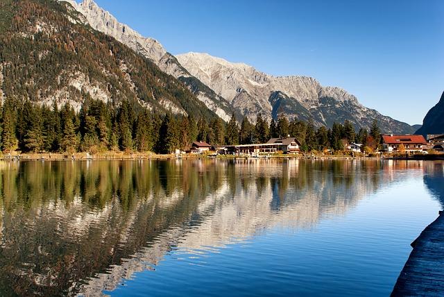 Free austria mountains lake trees buildings water