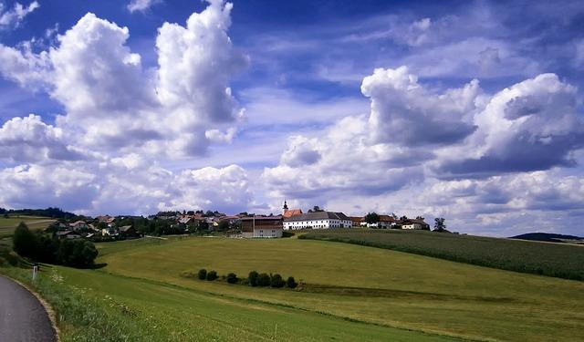 Free austria landscape scenic hill fields village sky