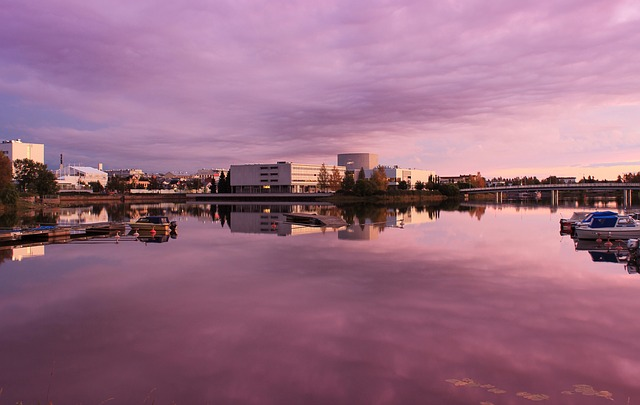 Free oulu finland sunset buildings river water