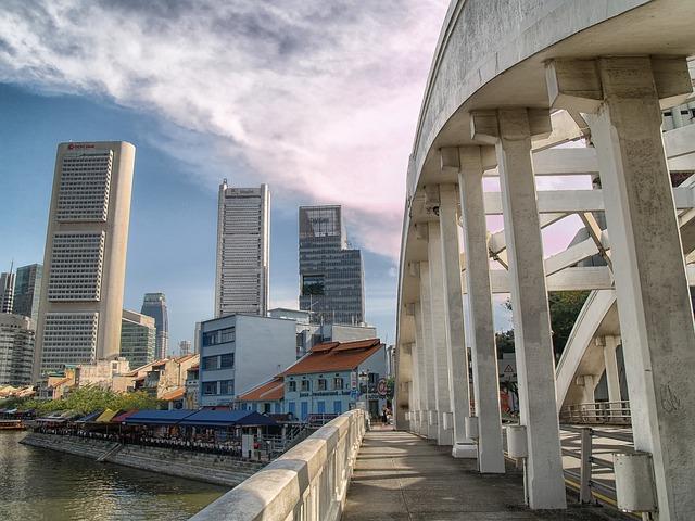 Free singapore skyline buildings bridge architecture