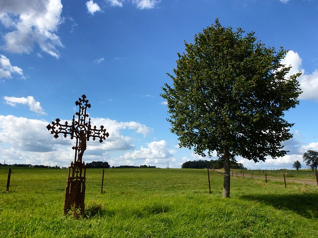 Free france landscape scenic tree cross sculpture sky