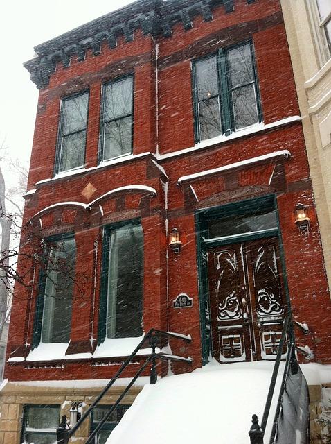Free chicago illinois winter snow snowing building