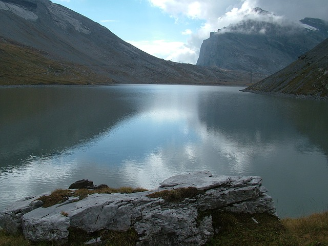 Free switzerland valais mountains see lonely water