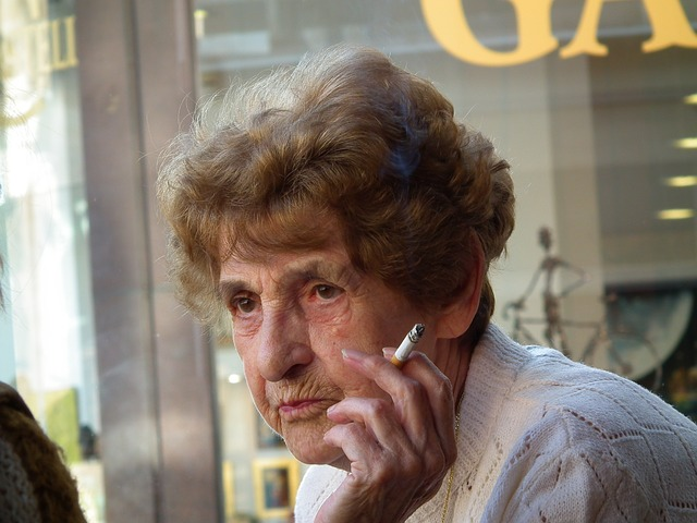 Free old lady smoking friends talk smoke cigarette