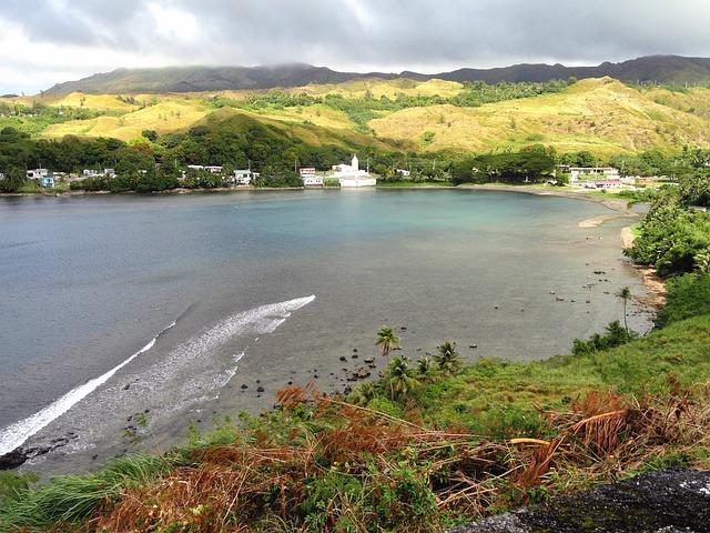 Free guam bay harbor water plants shoreline sky