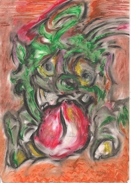 Free goblin cheeky finger art chalk