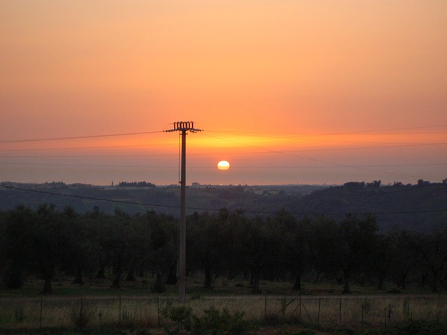 Free strommast energy power line sunset