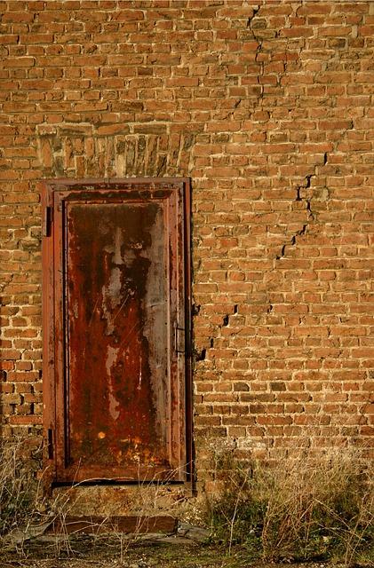 Free old stainless broken metal bare run down door