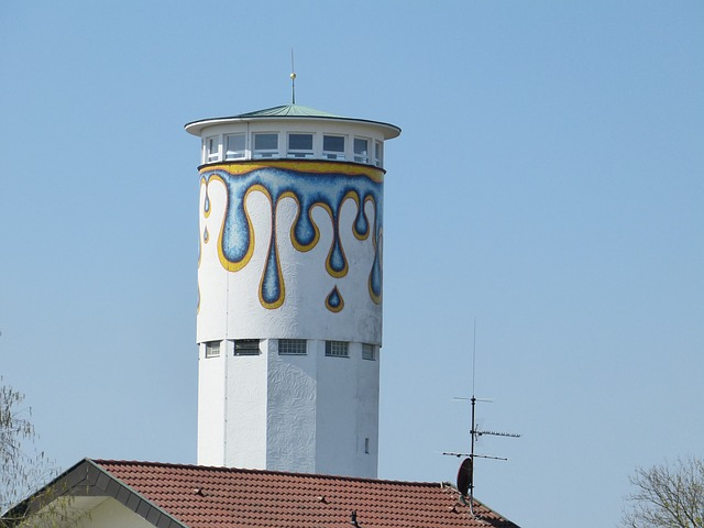 Free tower water water tower drip paint painting