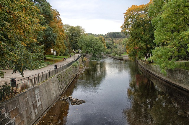 Free uddevalla sweden canal waterway reflections fall