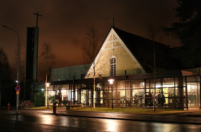 Free oulu finland church building architecture night