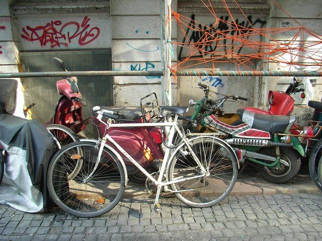 Free bike colorful roller old lumber scrap big city