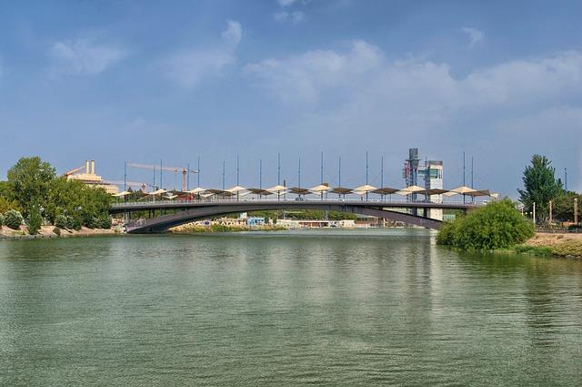 Free seville spain bridge river reflections