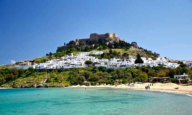Free lindos greece buildings castle architecture trees