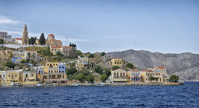 Free symi greece landscape bay harbor water shoreline