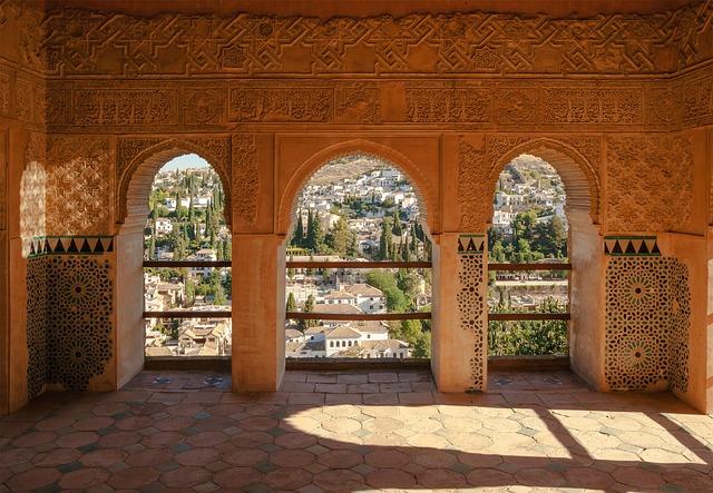 Free spain alhambra pavilion facade palace castle view