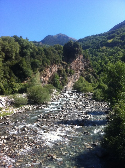 Free pyrenees river nature landscape mountains trees