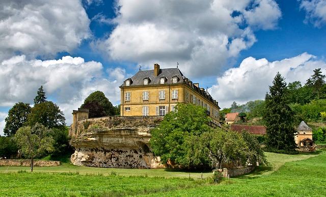 Free dordogne france chateau du roc palace mansion sky