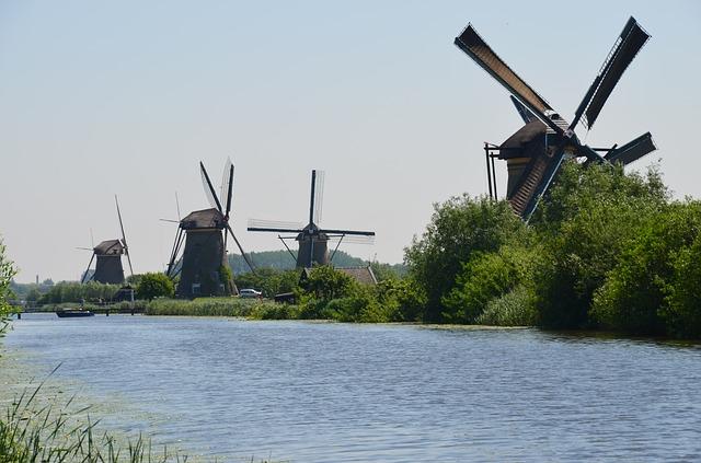 Free windmills holland canals channels water waterways