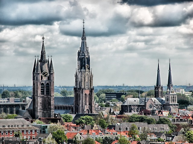 Free delft netherlands city skyline buildings churches