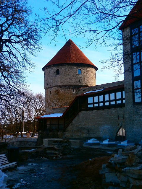 Free tower red old wall old town tallinn estonia