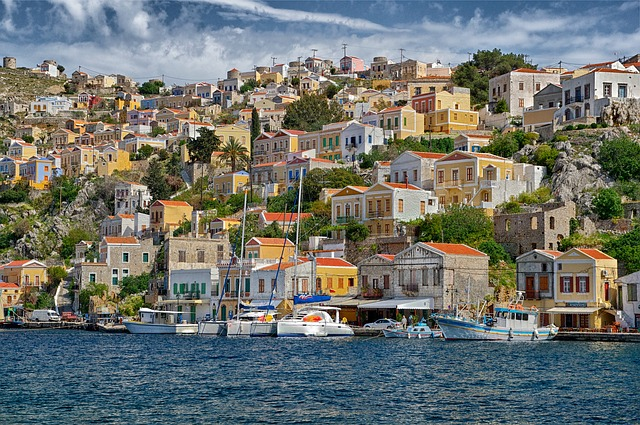Free symi greece houses buildings urban city cities