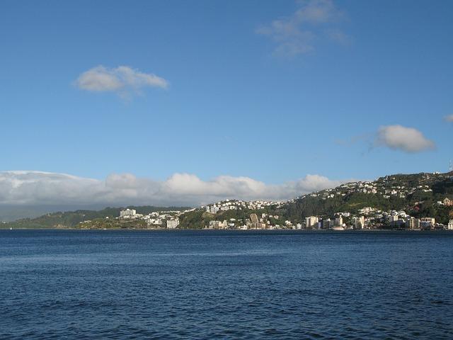 Free ocean water coast hills city view land landscape