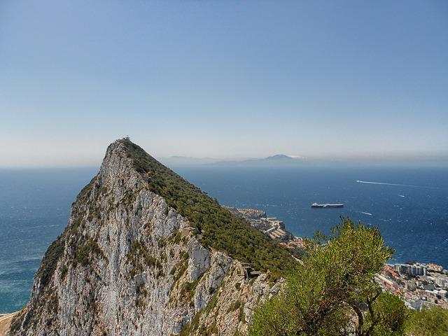 Free gibraltar mountain landscape scenic sea ocean