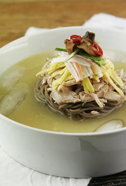 Free soup korean food noodle soup chogetang noodles