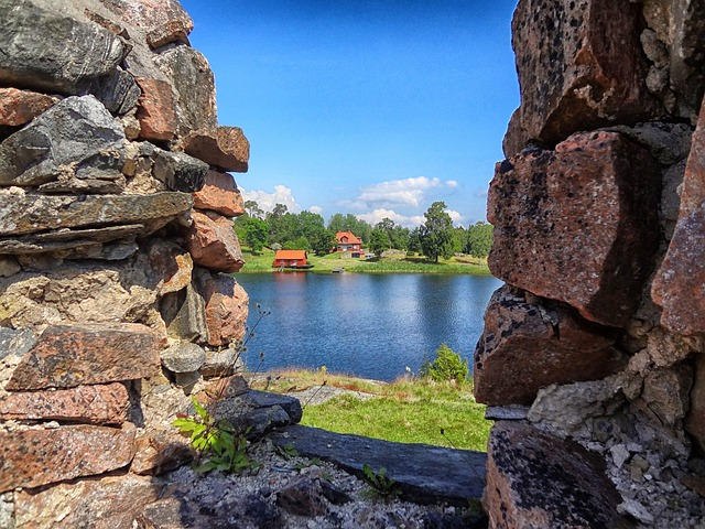 Free sweden lake water reflections sky clouds stones