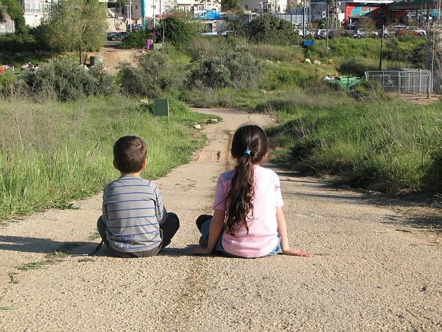 Free girl boy sitting sit kid kids together watching