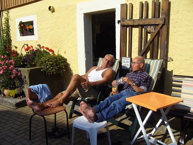 Free rest seniors pensioners men summer resort farm