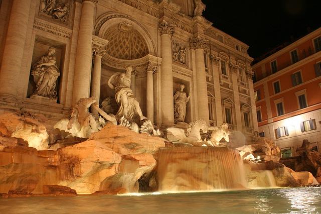 Free italy rome fountain trevi fountain night water