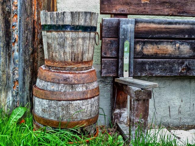 Free wooden kegs barrels rusty metal farming iron old