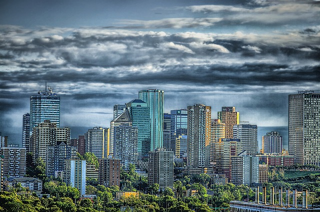 Free edmonton canada skyline city urban skyscrapers