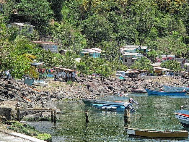 Free eastern caribbean bay harbor boats trees shoreline