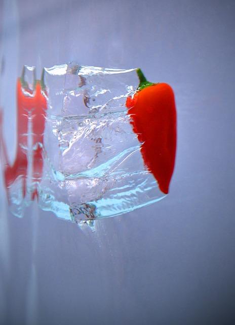 Free pepper red splash water wet