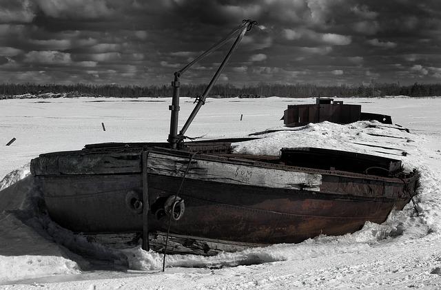 Free finland ship shipwreck sky clouds winter snow