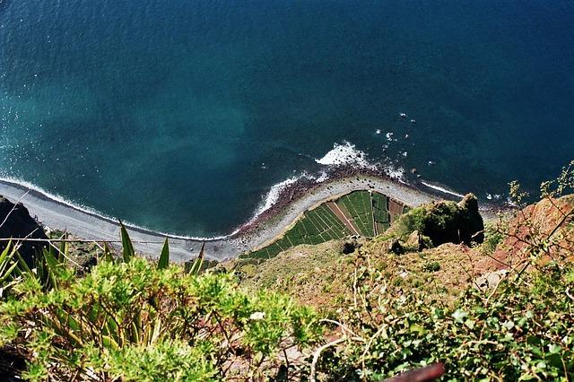 Free cliff high sea ocean madeira beach