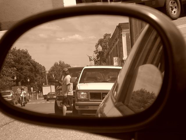 Free car mirror scene truck town