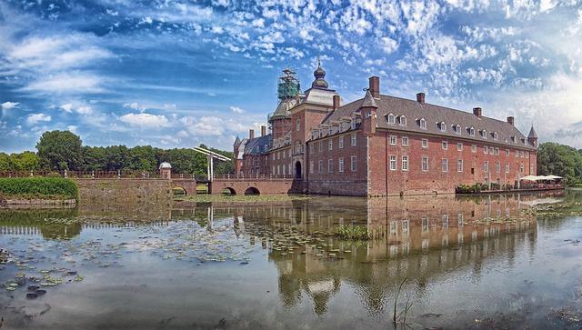 Free isselburg germany sky clouds anholt landmark pond