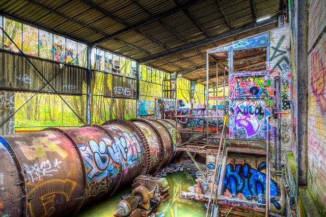Free urbex urban exploration graffiti colors industrial