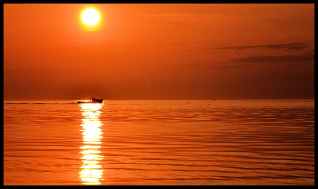Free boat sun sunset sea ocean water beautiful nice