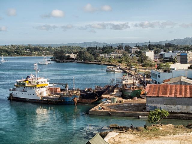 Free vanatu boats ships harbor bay water reflections
