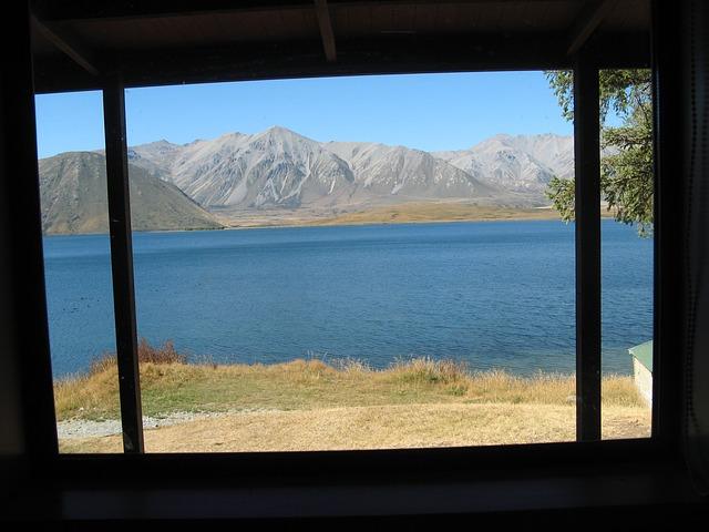 Free new zealand lake heron southern alps window view