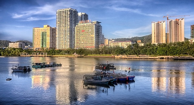 Free hainan china city buildings architecture river