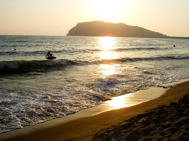 Free sunset beach light cliff sea jetski water