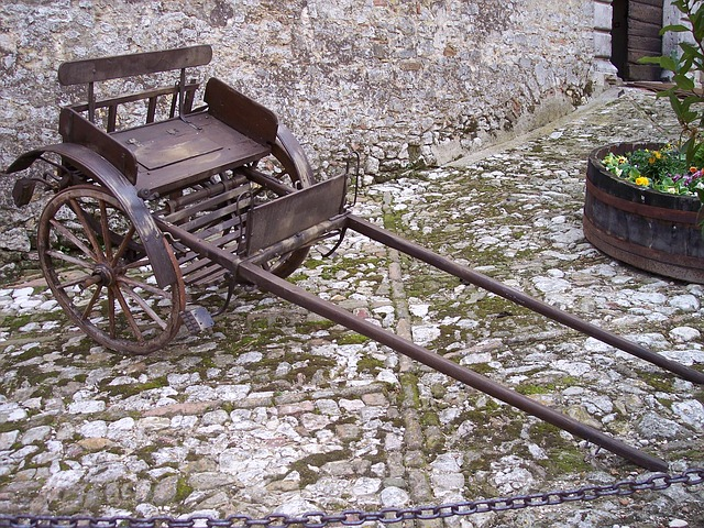 Free cart calash transport wood wheels stone floor