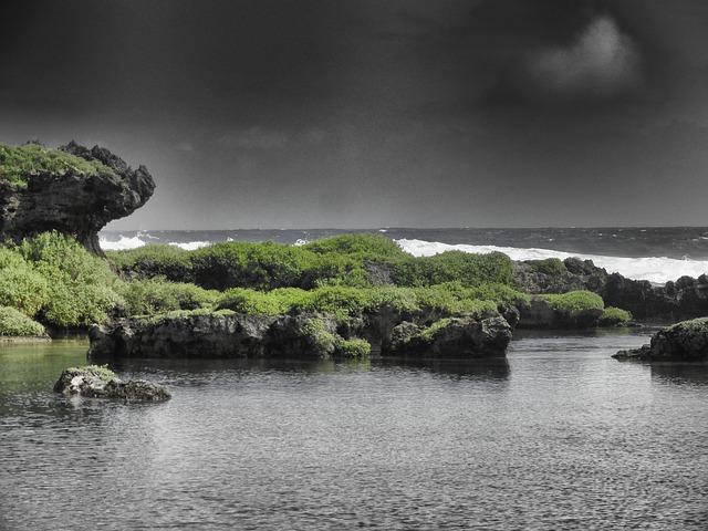 Free guam sea ocean water rocks rocky sky clouds