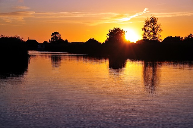 Free river scenery nature sunset sky sun